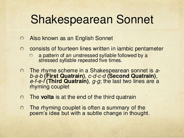shakespeare sonnet analysis Year published: 1609 language: english country of origin: england source: shakespeare, w the sonnets in r g white (ed), the complete works of william shakespeare new york: sully and kleinteich.